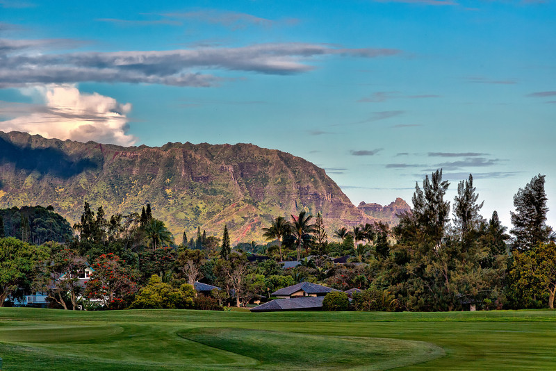 Kauai: View from Westin Villa - looking across the golf course - in Princeville.   Distant mountain also known as Bali Hai.