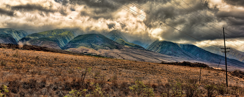 Maui:  Looking up the slopes of the West Mountains from Lahaina.