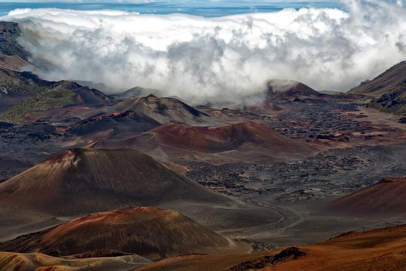 Maui:  Dormant lava domes of the Haleakala Volcano.