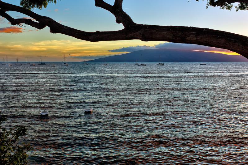 Maui:  Sunset in Lahaina, looking toward Lana'i.