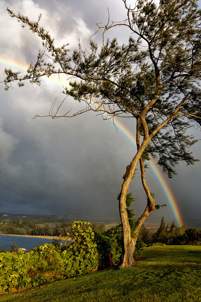 Maui:  Rainbow forms over Kapalua as an evening rain moves in.