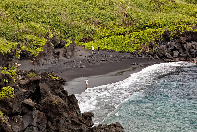 Maui:  Honokalani Black Sand Beach in the Wainapanapa State Park.