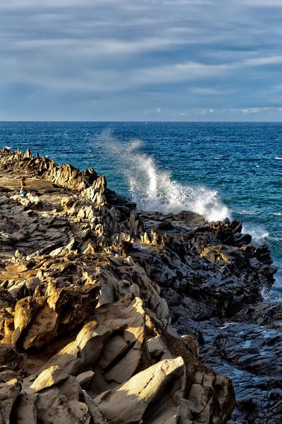 Maui:  Waves crashing against the Kapalua shoreline.