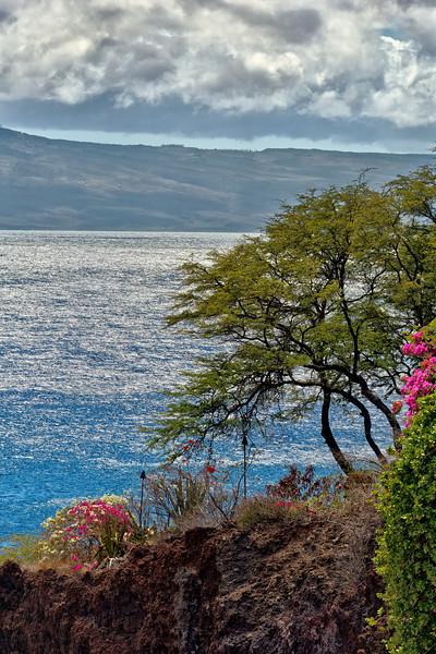 Maui:  Overlooking the Black Rock on Ka'anapali Beach to Lana'i.