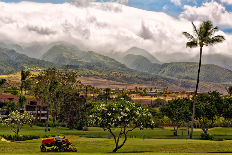 Maui: Looking up toward the West Mountains from the Kaanapali Golf Course.