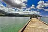 Kauai: view of Hanalei beach from the Hanalei pier.