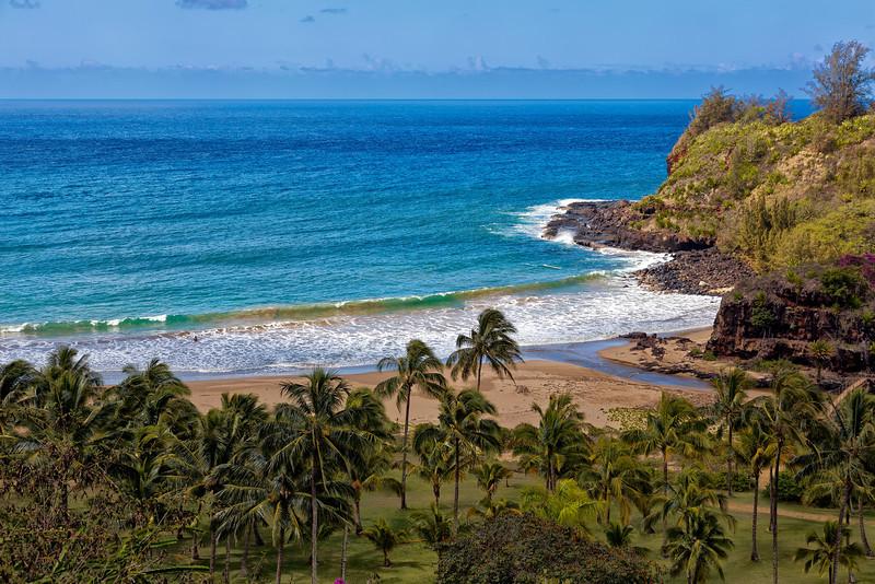 Kauai: Overlooking Lawai Bay in front of Allerton Gardens (National Tropical Botanical Garden - NTBG)