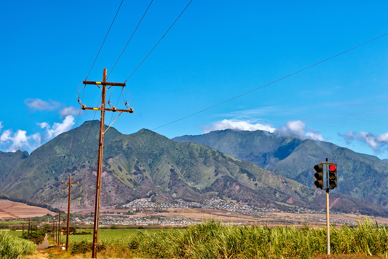 Maui:  View of the West Mountains from sugar fields in the Maui valley region.