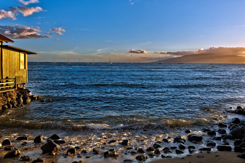 Maui:  Sunset in the harbor in Lahaina, looking toward Lana'i.