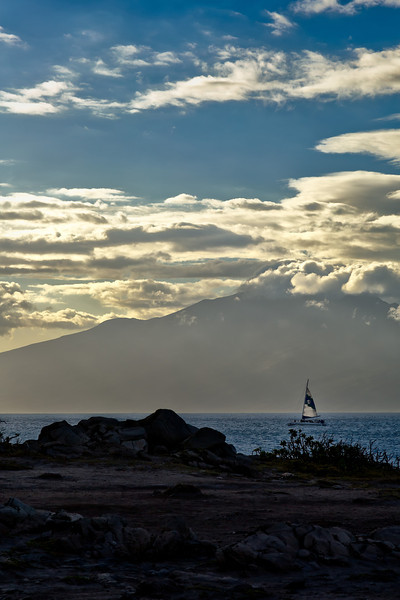 Maui:  Boat sails between Maui and Moloka'i.