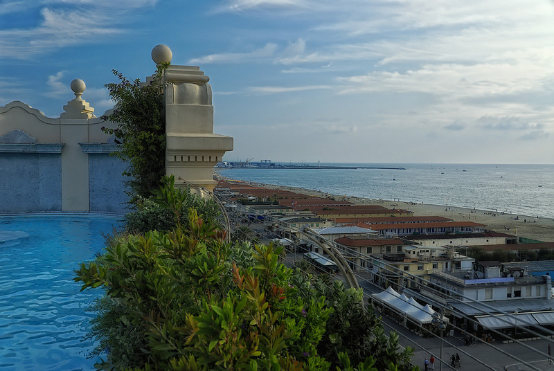 View of Viareggio Italy beach from top of hotel
