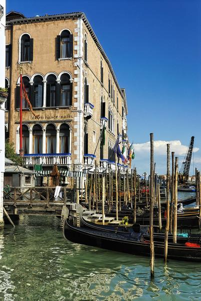 Hotel dock on Grand Canal with Gondolas - Venice Italy