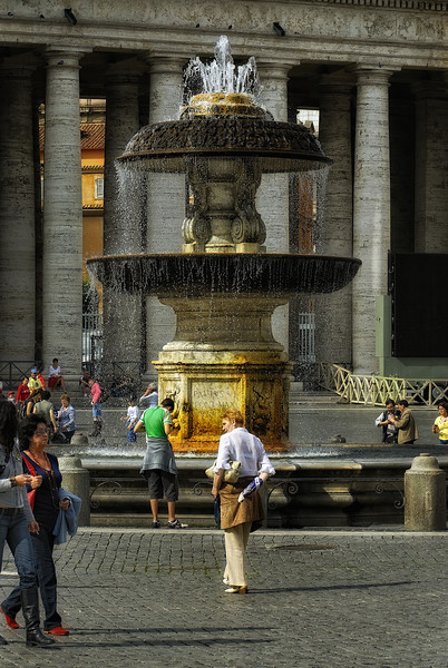 Fountain in St Peter's Piazza - Rome Italy