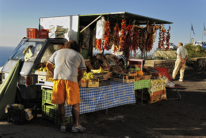 Roadside vendor on Amalfi coastline Italy