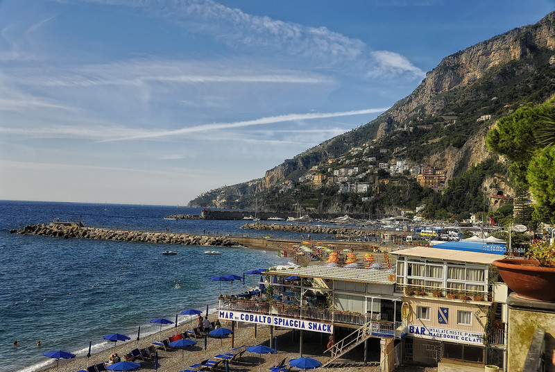 Beach in town of Amalfi Italy