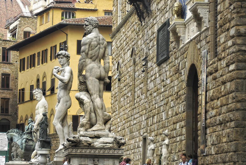 Side view of statues in town square - Florence Italy