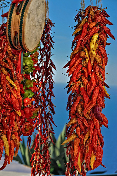 Peppers being sold by roadside vendor along Amalfi Coastline Italy
