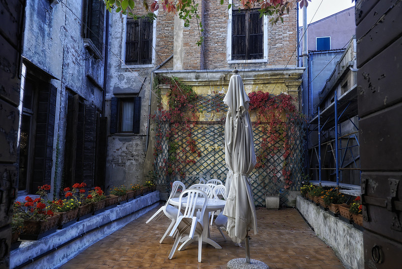 House terrace in Venice Italy