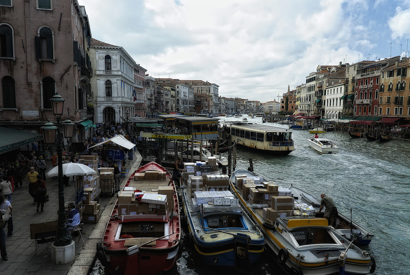 Supply boats in Grand Canal - Venice Italy