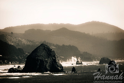 Cannon Beach, Oregon Coast ... View of the rock formations and Haystack Rock in monochrome Shot from the Ecola State Park  © Copyright Hannah Pastrana Prieto