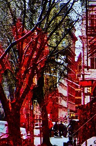 downtown, in red