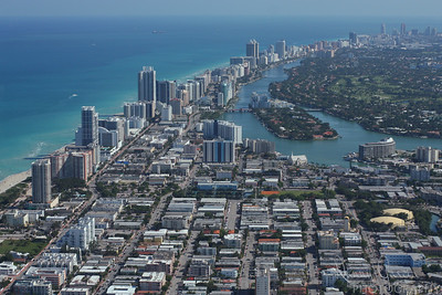 Aerial view of waterfront buildings in Miami Beach Florida