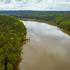 The Haw flowing toward the viewer from the northwest as it enters Jordan Lake. ll April 30, 2020
