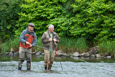 River Strule - Chris Tarrant and angling guide on River Strule, Newtownstewart, Co Tyrone, N Ireland