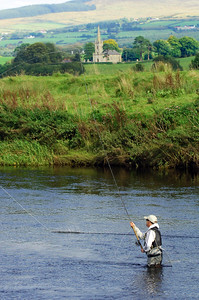 River Strule - Fishing the River Strule near Omagh for salmon. Omagh, Co Tyrone, N Ireland
