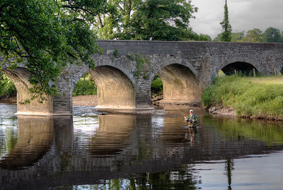 Fly fishing for trout River Strule, Co Tyrone, N Ireland