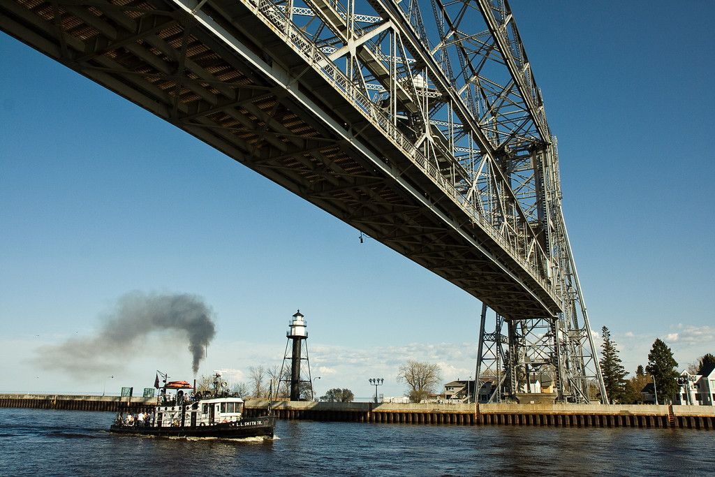 Duluth Lift Bridge with Tugboat