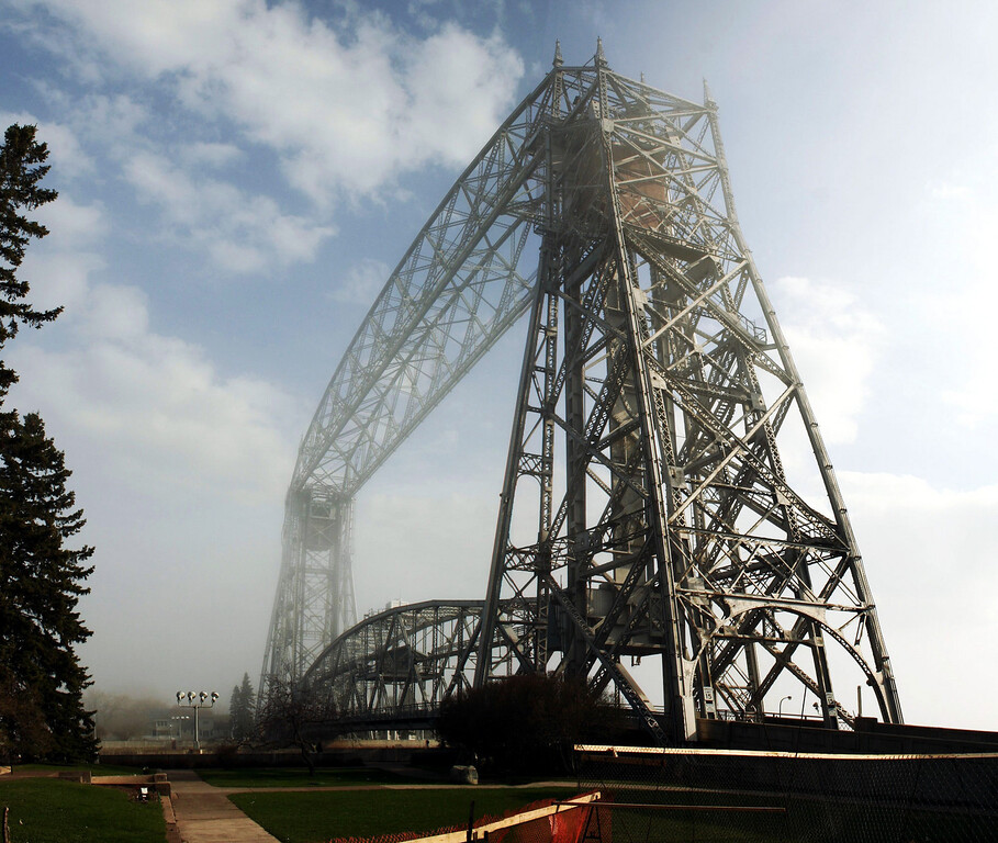 The Duluth lift bridge under fog
