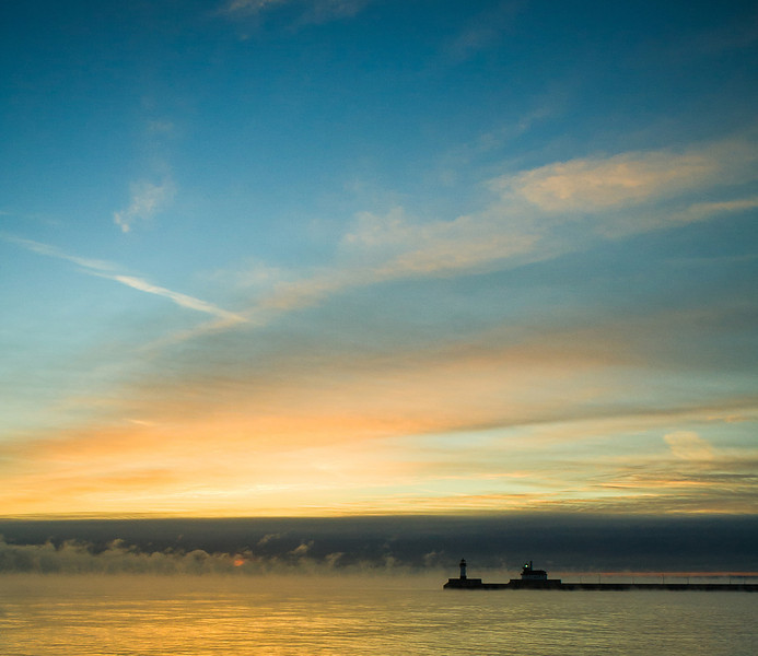 Steam Over Duluth Lighthouse Sunrise