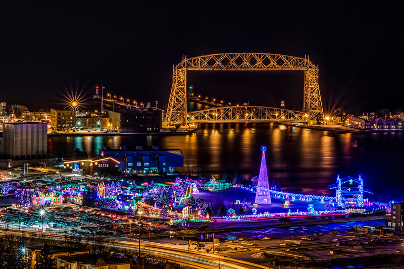 Bentleyville and the  Duluth Harbor Lift Bridge