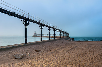 Michigan City Lighthouse In Fog