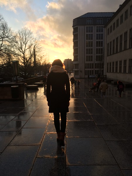 Walking into the sunset in downtown Luxembourg