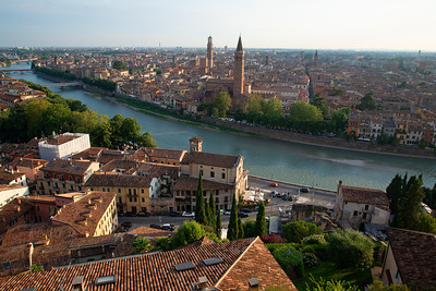 The historic colorful streets of Verona in the north of Italy.