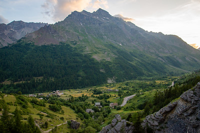 A small village under the towering peaks of the Ecrins in France.