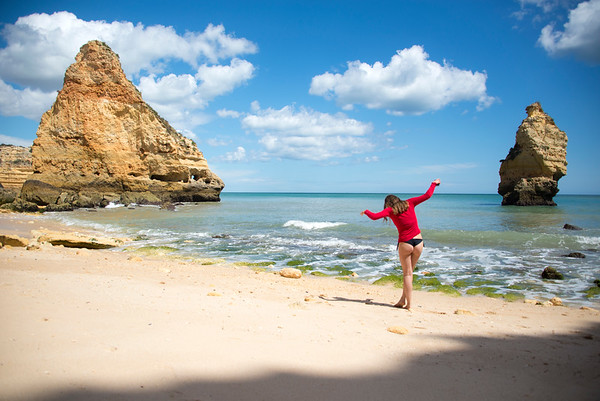 Picturesque day at Cathedral Beach Algarve Portugal