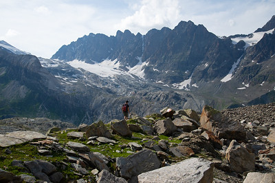 Hiking high in the Alps on the border of Italy and Switzerland.