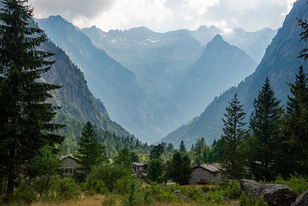 A rifugio in the dramatic granite walled Val di Mello in northern Italy.