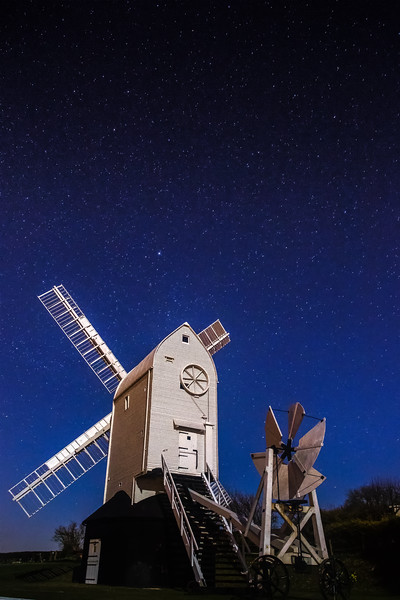 Jack and Jill windmill in Clayton west Sussex under the full moon, I chose to shoot the windmill at high light sensitivity to capture the wonderful sky full of star
