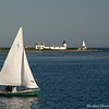 Goat Island Lighthouse and Sailboat, Kennebunkport, ME