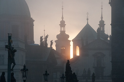 Sunrise in Prague, from Charles Bridge