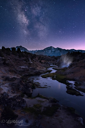 Milky way over Hot Creek - Mammoth, CA