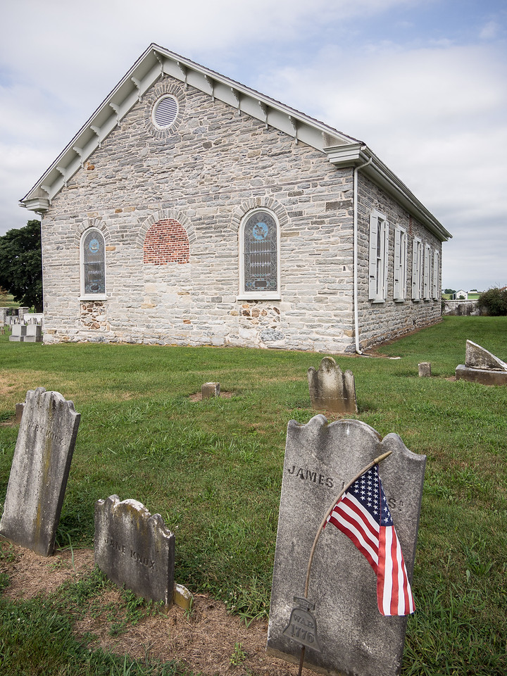 Old Stone Church, Graveyard and American Flag
