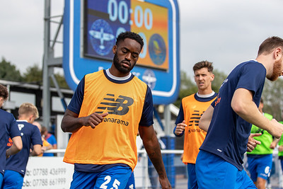 Christian Maghoma of Eastleigh warming up before the National League match between Eastleigh and Kings Lynn at the Silverlake Stadium, Eastleigh  4th September 2021. Image by Graham Scambler Photography