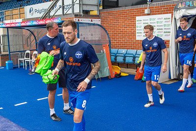Eastleigh players coming out for warm up before during the National League match between Eastleigh and Kings Lynn at the Silverlake Stadium, Eastleigh  4th September 2021. Image by Graham Scambler Photography