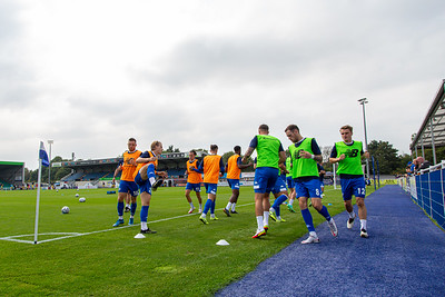 Eastleigh players warming up before the National League match between Eastleigh and Kings Lynn at the Silverlake Stadium, Eastleigh  4th September 2021. Image by Graham Scambler Photography