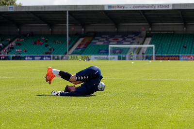 Joe McDonnell of Eastleigh warming up the National League match between Eastleigh and Wrexham at Silverlake Stadium Eastleigh 28th August 2021. Image by Graham Scambler Photography
